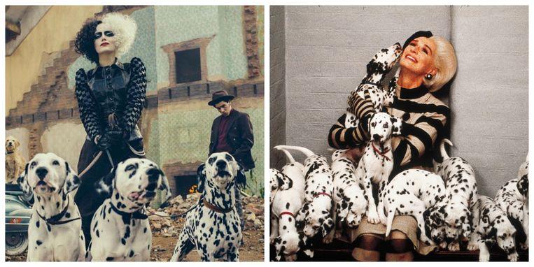 Links Emma Stone als Cruella DeVil, rechts Glenn Close