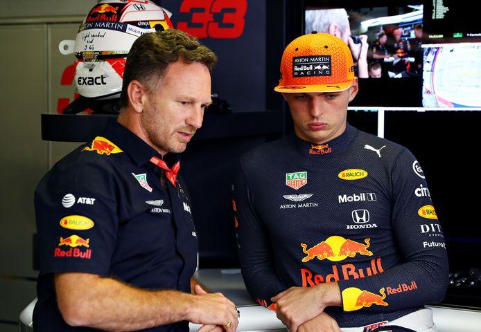 Christian Horner en Max Verstappen.