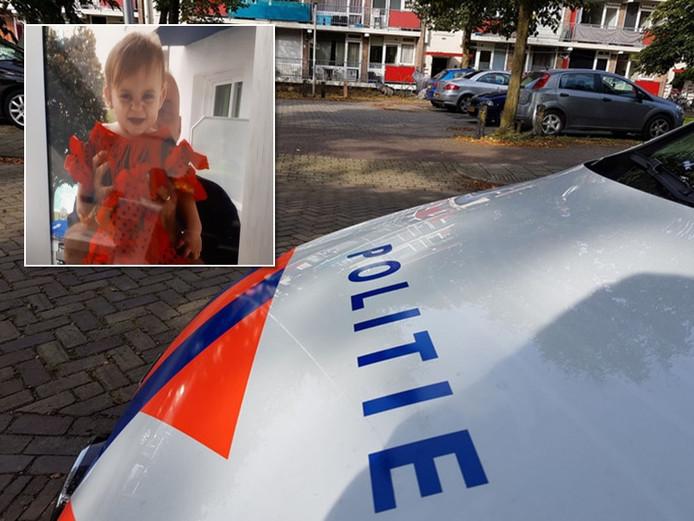 Onderzoek bij de woning in Hengelo waar de moord zich voltrok. Foto inzet: de 1-jarige Xaja