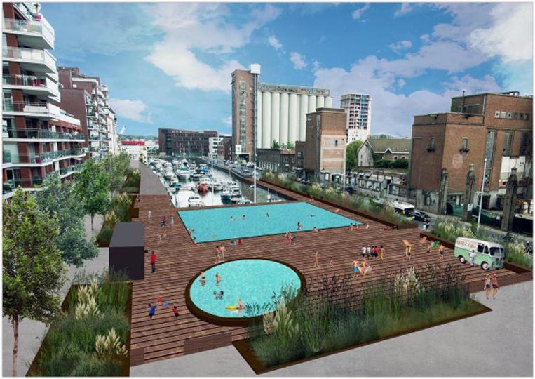Zo zouden de zwemkuip en het kinderbad van Leuven Bad aan de Vaartkom er kunnen uitzien in de toekomst.