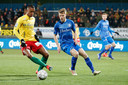 Oostende's Richairo Zivkovic and Gent's Sigurd Rosted fight for the ball during a soccer game between KV Oostende and KAA Gent, Wednesday 30 January 2019 in Oostende, the return leg of the semi-finals of the 'Croky Cup' Belgian cup. BELGA PHOTO KURT DESPLENTER
