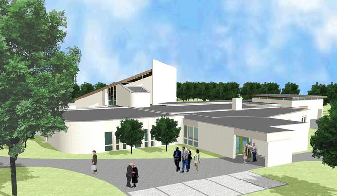 Een artist impression van het uitvaartcentrum aan de Duivecatelaan in Nijverdal, dat de komende jaren verduurzaamd wordt.