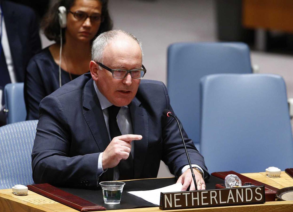 Timmermans tijdens zijn indrukwekkende toespraak voor de VN