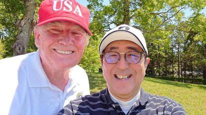Donald Trump en Shinzo Abe spelen potje golf tijdens handelsbesprekingen