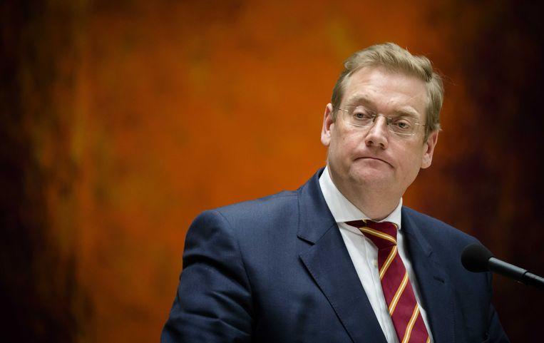 Minister Van der Steur van Justitie in de Kamer. Beeld anp