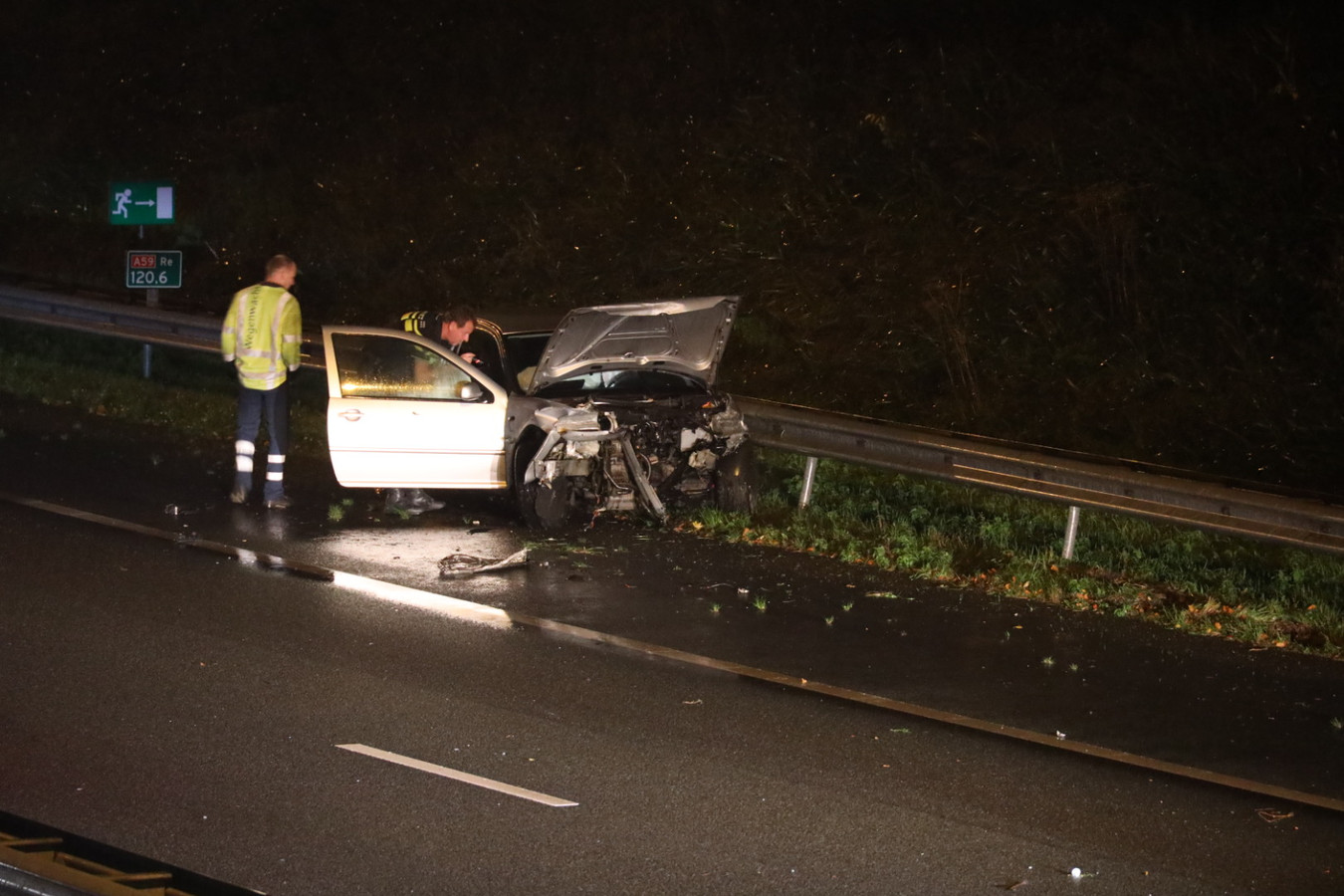 Ongeluk op de A59 bij Drunen.