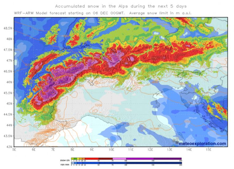 Komende 5 dagen wordt er zeer veel sneeuw verwacht in de Alpen. Sommige gebieden krijgen volgens de laatste weerdata meer dan 1 meter sneeuw te verwerken.