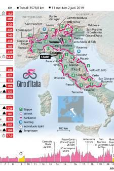 Volledig parkoers en alle etappes van de Giro d'Italia