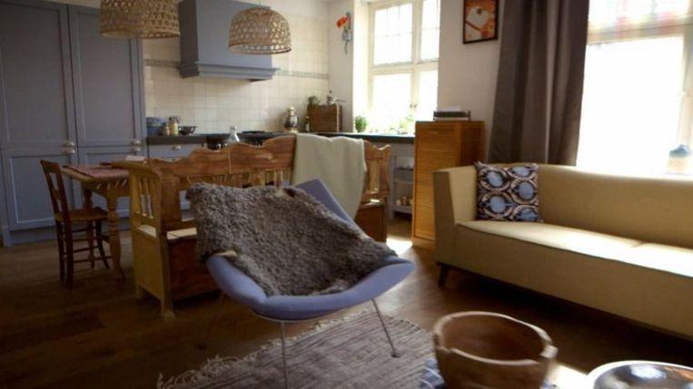 De woonkamer van Dirk en Marte. Beeld