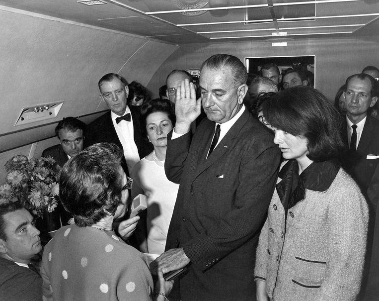 Oud-president Jonhson bij zijn eedaflegging in 1963