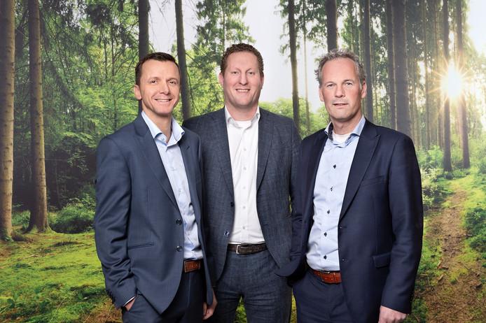 Sander van Doorn, Wouter Bezemer en Paul Uppelschoten (van links naar rechts) vormen de nieuwe directie van Huybregts Relou.
