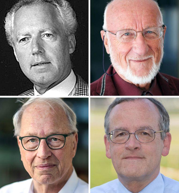 Ondertekenaars van het 'Nieuw Klimaat Alarm': Guus Berkout, Kees le Pair, Karel Wakker en Rutger van Santen. (van linksboven met de klok mee) Beeld