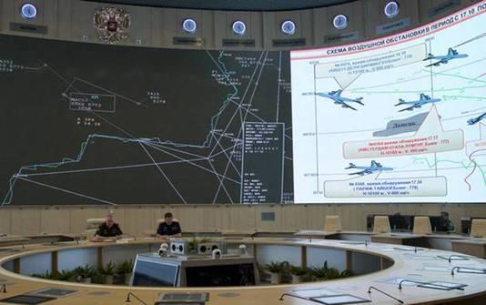 De persconferentie van de Russen werd live uitgezonden. Op de reusachtige beeldschermen schetste generaal Andrej Kartapolov twee scenario's voor het neerstorten van MH17.