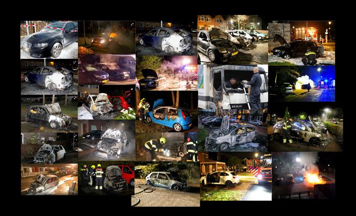 autobranden in Culemborg collage van beelden van ronald heitink