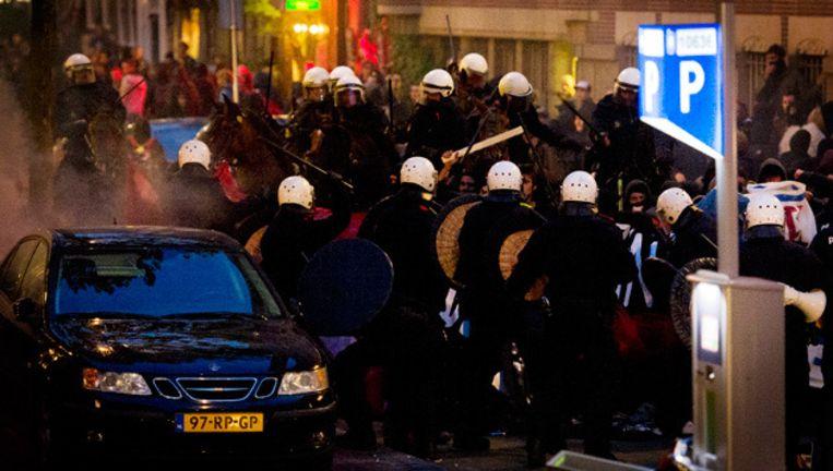 Vorig jaar liep het protest tegen de anti-kraakwet uit de hand. © anp Beeld