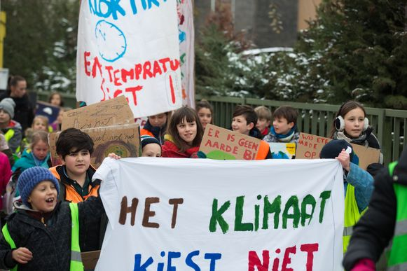 Kinderen van freinetbasisschool Wondere Wereld in Lummen betoogden eerder dit jaar al voor een beter klimaat