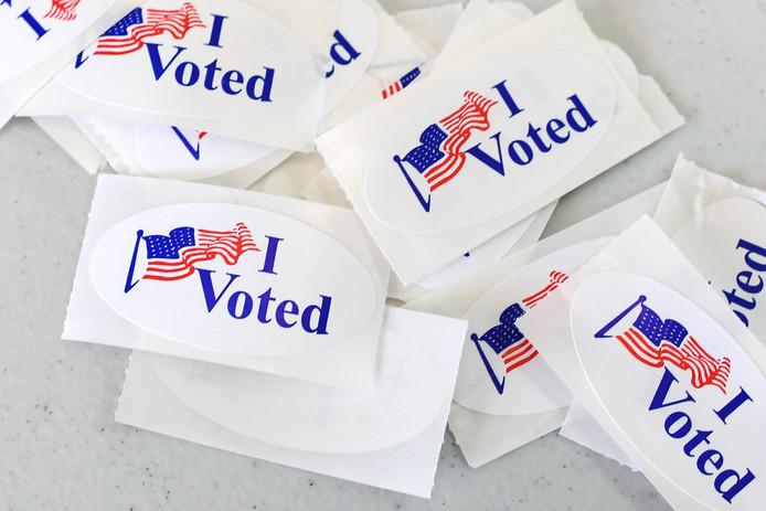 Stickers waarmee Amerikanen die hebben gestemd kunnen laten zien dat ze naar het stemlokaal zijn geweest.