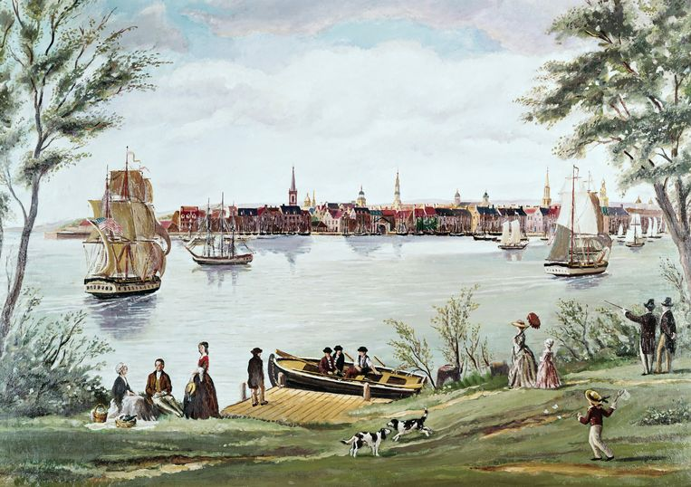 New York Shortly After Independence, Scene of the East River 18th C. George Torina 18th C. American Beeld Getty Images/SuperStock RM
