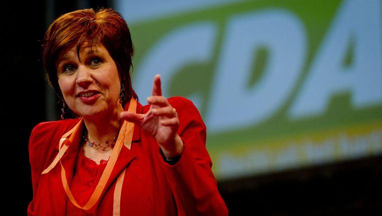 Partijvoorzitter Ruth Peetoom is aan het woord op een CDA congres. Beeld ANP