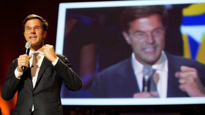 Mark Rutte voert het woord op het verkiezingscongres van de VVD.