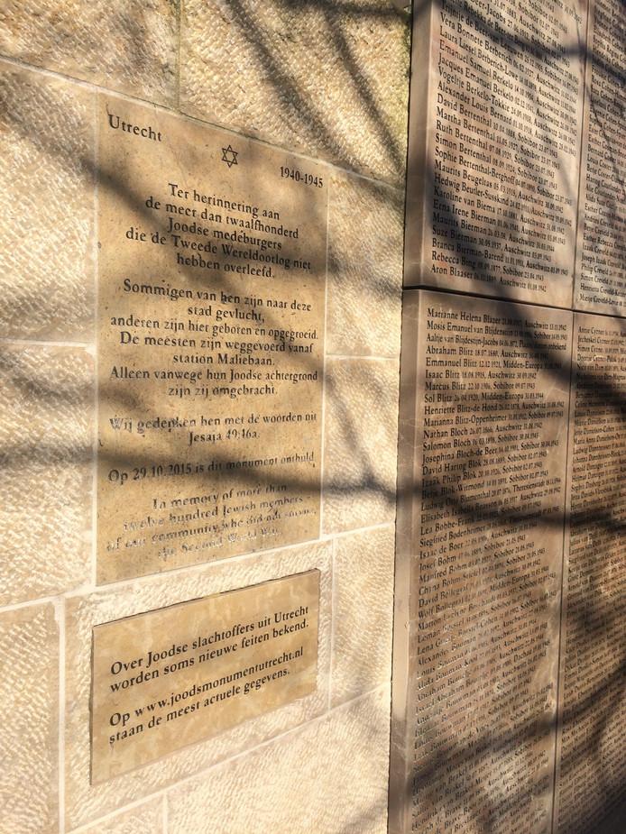 Op het Joods Oorlogsmonument in Utrecht is een nieuwe steen geplaatst met een verwijzing naar een website.