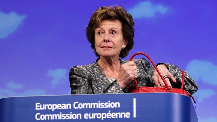 Neelie Kroes, hier als EU-commissaris in december 2012. Ze is nu adviseur bij Uber.