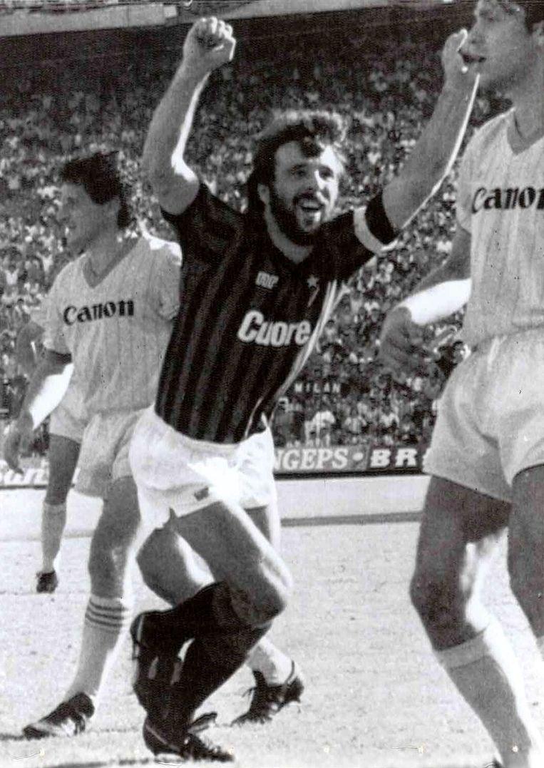 19 september 1983: Eric Gerets scoort voor AC Milan.