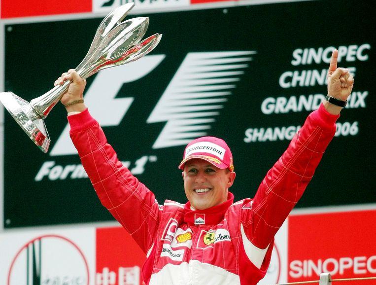 Michael Schumacher na zijn zege in Shanghai in 2006.