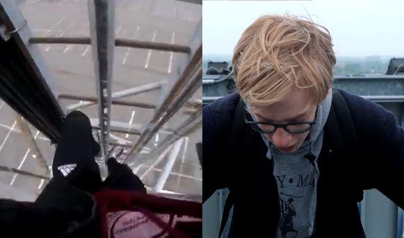 De vlogger beklom de Makro-toren