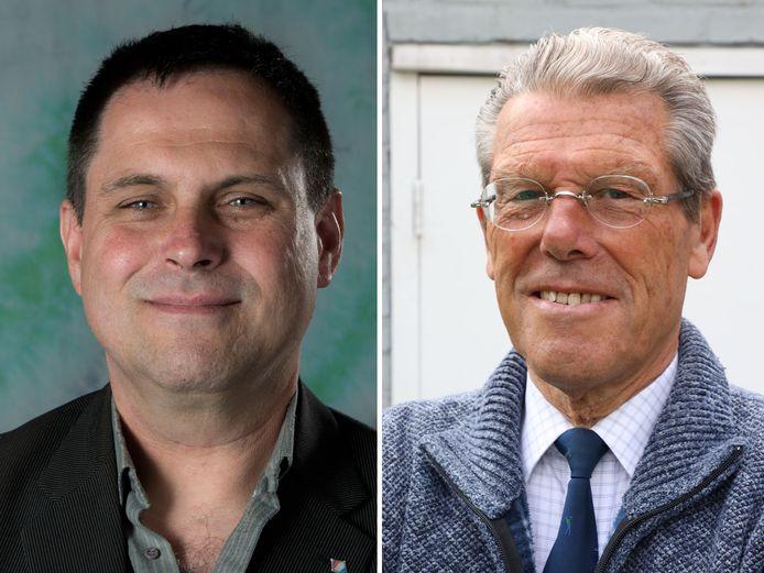 Links: Gert-Jan Minderhoud (Partij voor Zeeland). Rechts: Johan Hessing (50Plus)