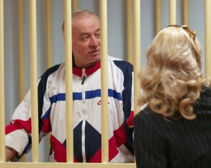 Sergei Skripal in de rechtbank van Moskou.