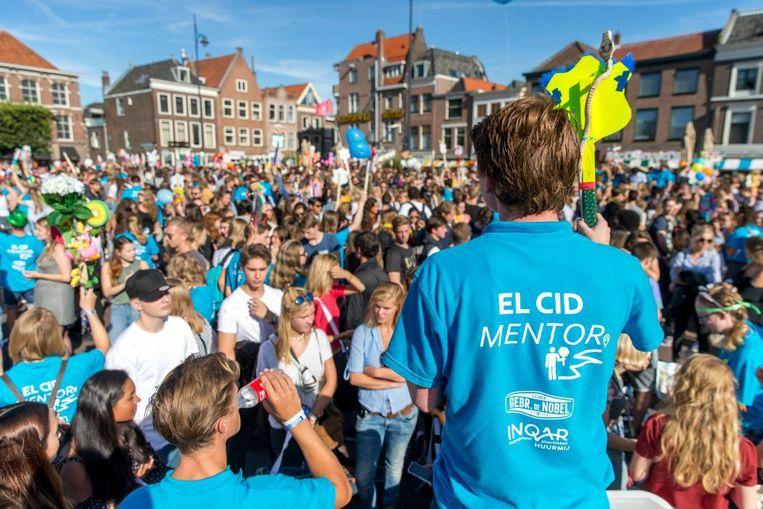 Studenten in Leiden bij de introductieweek. Beeld Anp