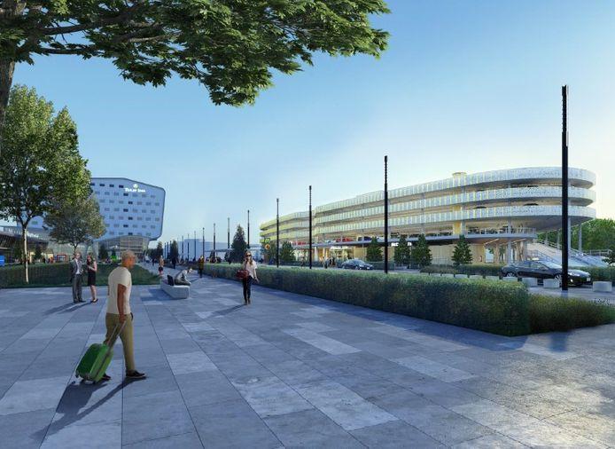 Een impressie van de Airport Boulevard, met rechts de nieuwe parkeergarage op P1.