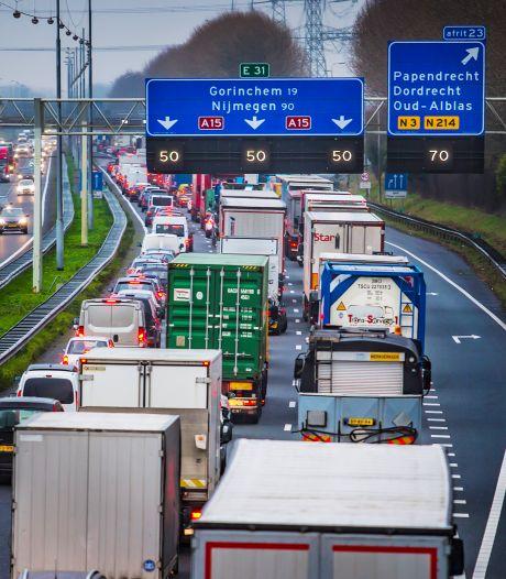A15 dit weekend deels afgesloten vanwege werkzaamheden
