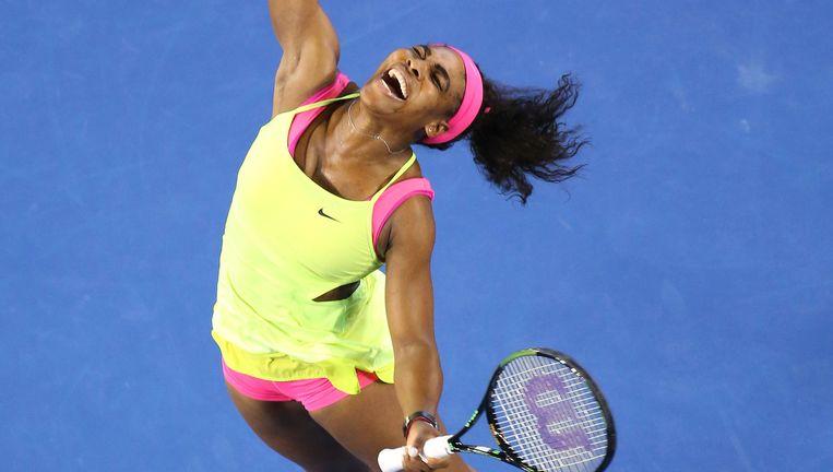 Serena Williams viert zaterdag in Melbourne haar negentiende grandslamzege. De ontlading was groot, omdat ze zich gedurende het hele toernooi niet fit voelde. Beeld getty