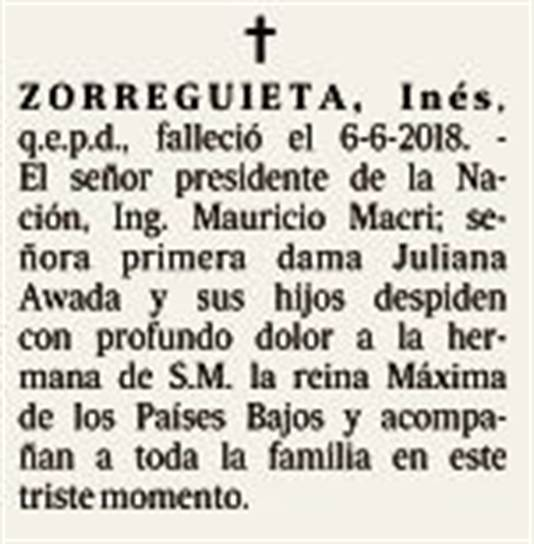 De rouwadvertentie van president Mauricio Macri werd vandaag geplaatst in La Nacion.