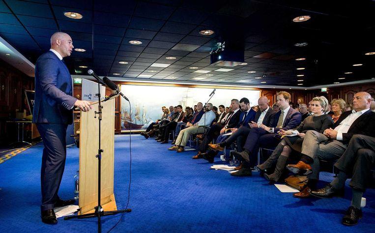 Joram van Klaveren tijdens het eerste partijcongres van VoorNederland. Beeld anp