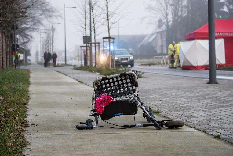 Mia Vermeulen (r.) stak vorig jaar op 2 januari aan de Meeuwerkiezel de weg over na een wandeling toen ze werd gegrepen door de wagen van de 21-jarige vrouw (l.). Mia en haar rollator werden door de klap meters ver weggeslingerd.