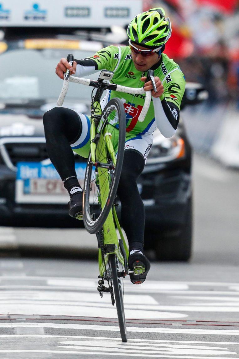 Peter Sagan na winst in de UCI World Tour Gent-Wevelgem. Beeld EPA