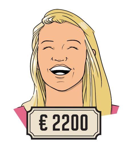 Simone (27): 'De ene helft van de winst zet ik apart, van de andere helft doe ik iets leuks'
