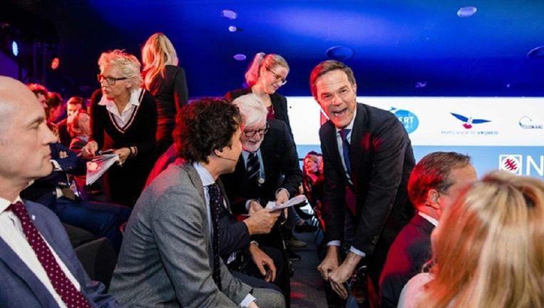 Gert-Jan Segers (ChristenUnie), Jesse Klaver (GroenLinks) en Premier Mark Rutte tijdens het televisiedebat aan de vooravond van de gemeenteraadsverkiezingen Beeld ANP