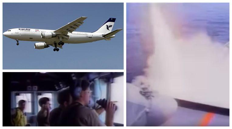 Foto linksboven: Een soortgelijke Airbus A300-B2 van Iran Air. Foto linksonder en foto rechts: de lancering van de Amerikaanse luchtdoelraket vanaf de USS Vincennes is gefilmd.
