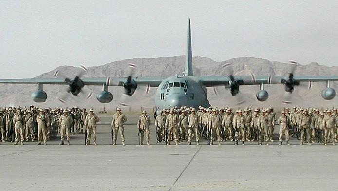 Archieffoto: een Hercules-transportvliegtuig van het Amerikaanse leger