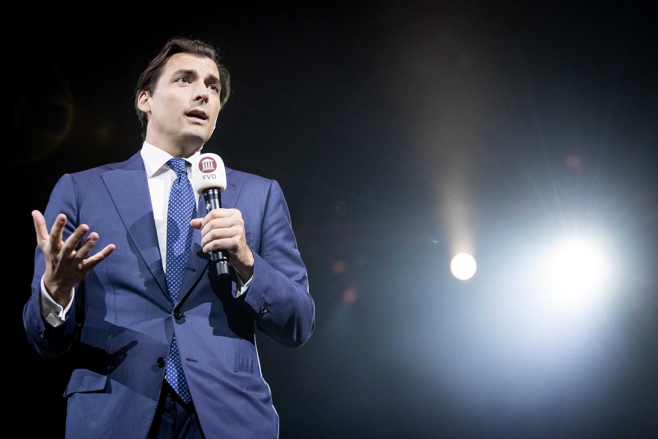 Partijleider Thierry Baudet tijdens de presentatie van de eerste tien kandidaten van Forum voor Democratie (FvD) voor de Tweede Kamerverkiezingen in oktober.