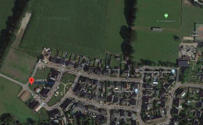 De tuintjes die eigenlijk bestemd zijn als landbouwgroep. Gezien op Google Maps en als schets in het nieuwe bestemmingsplan.