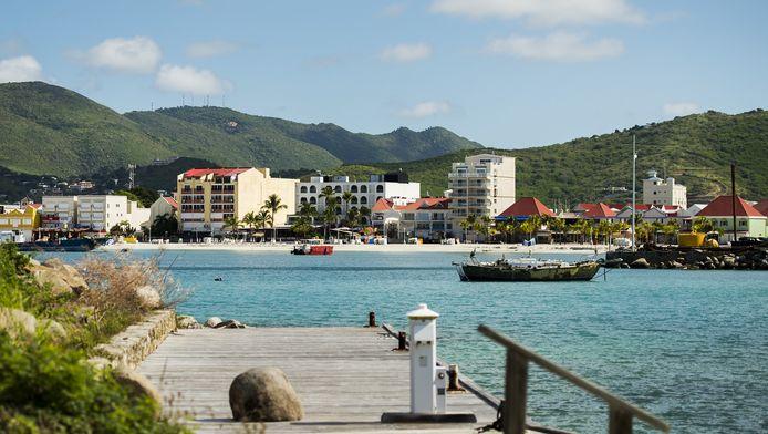 De kustlijn van Philipsburg op Sint Maarten.