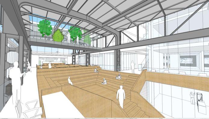 Eerste schetsen van het interieur van Ector Hoogstad Architecten voor MindLabs.