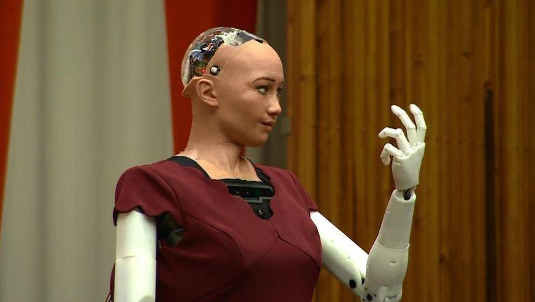 """""""Ik ben hier om de mensheid te helpen"""": griezelig echte robot spreekt VN toe"""