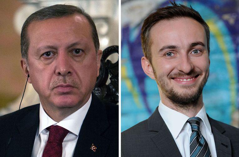 De Turkse president Recep Tayyip Erdogan en de Duitse komiek Jan Böhmermann. Beeld afp