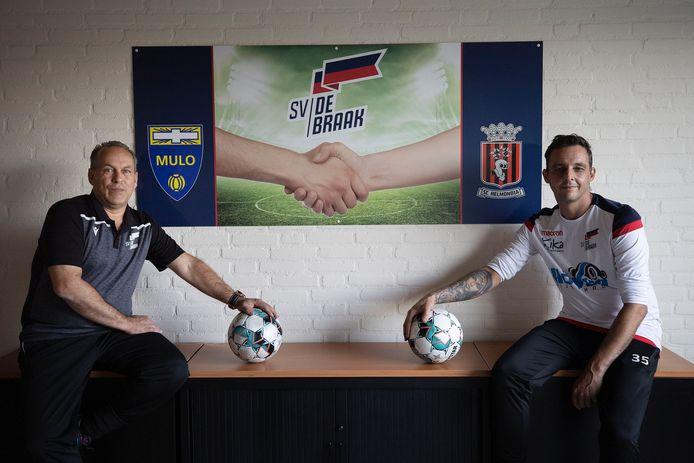 Hoofdtrainer Wim de Roy (l) van SV De Braak met assistent-coach Patrick Meinhardt.